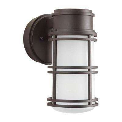Bell Collection 1-Light Antique Bronze Outdoor Integrated LED Wall Lantern Sconce
