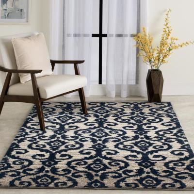 Carinthia Cream/Navy 8 ft. x 10 ft. Abstract Area Rug