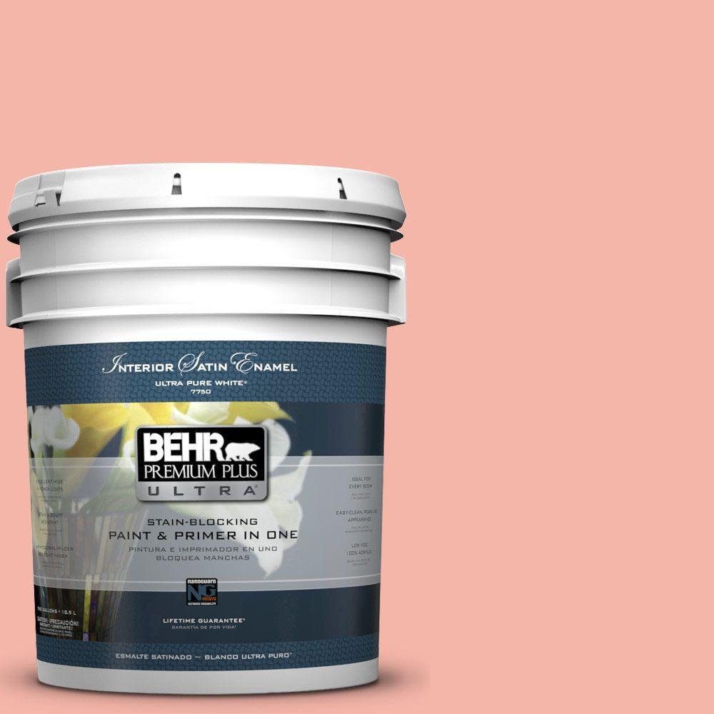 5-gal. #P180-3 Pink Mimosa Satin Enamel Interior Paint