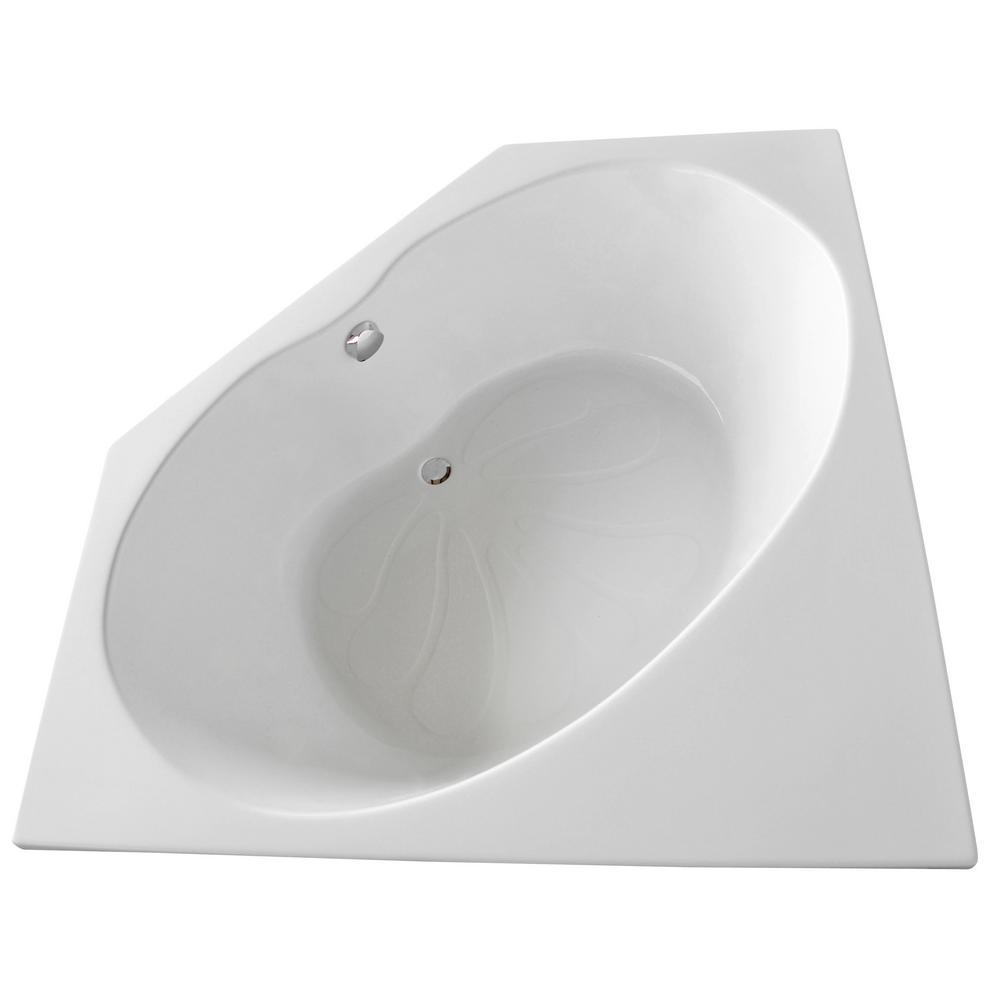 Carnelian 5 ft. Center Drain Soaker Tub in White