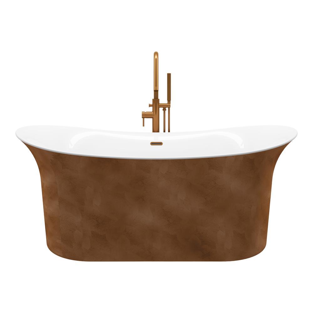 Ahri 66 in. Acrylic Free-Standing Flatbottom Non-Whirlpool Bathtub in Copper