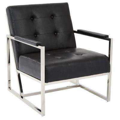 Nathan Chair in Black Croc Faux Leather