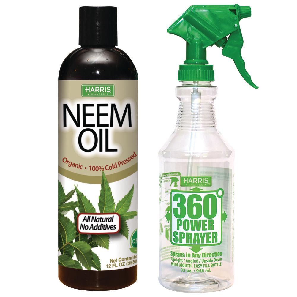 Harris 12 oz. 100% Cold Pressed Unrefined Cosmetic Grade Neem Oil and 360-Degree All Angle Professional Spray Bottle Value Pack-NEEM12-360