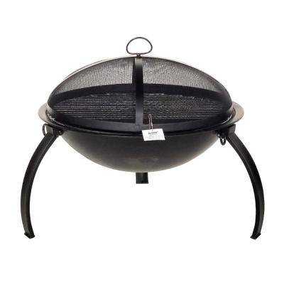 22 in. x 24 in. Round Steel Wood and Coal Fire Pit Kit with Flame Retardant Lid and Poker