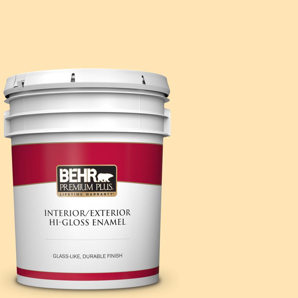 Behr Premium Plus 5 Gal P260 3 Vanilla Ice Cream Hi Gloss Enamel Interior Exterior Paint 805005 The Home Depot