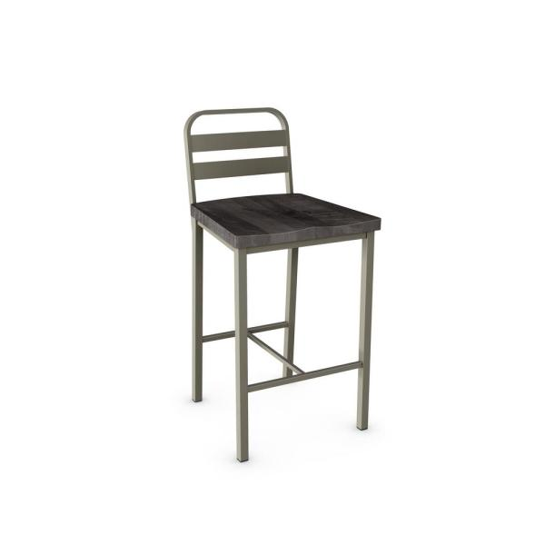 Accord 26 in. Light Grey Metal Grey Wood Counter Stool 40222-26/5684
