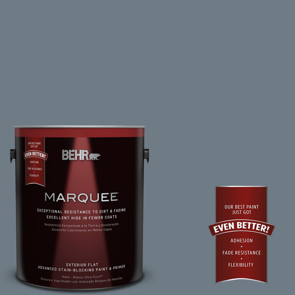 BEHR MARQUEE 1-gal. #N490-5 Charcoal Blue Flat Exterior Paint