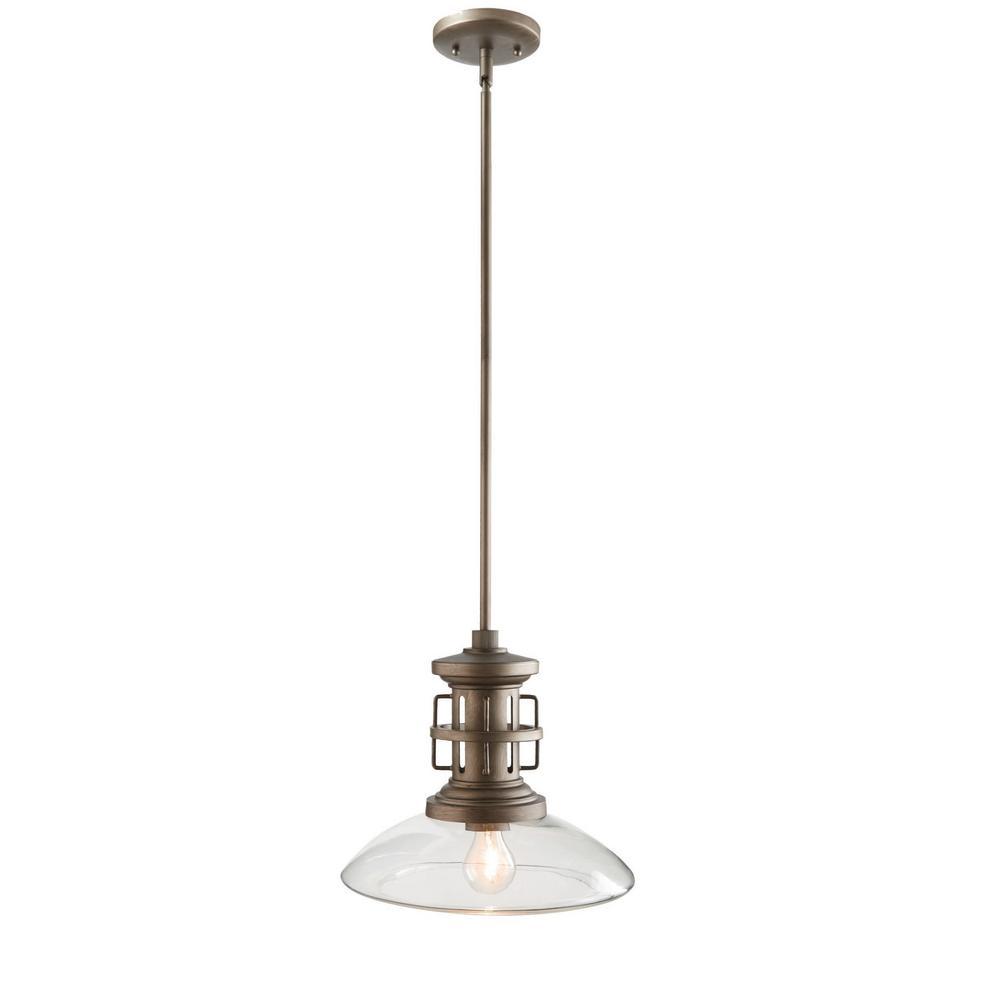 Home Decorators Collection 1-Light Satin Silver Mini Pendant
