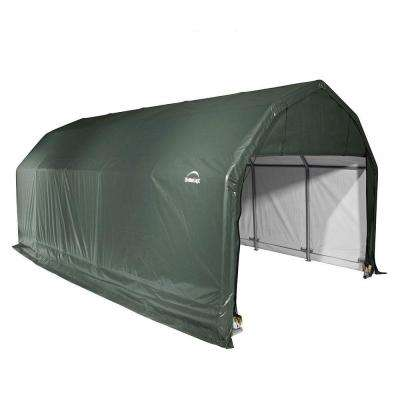 12 ft. x 28 ft. x 11 ft. Green Steel and Polyethylene Garage without Floor