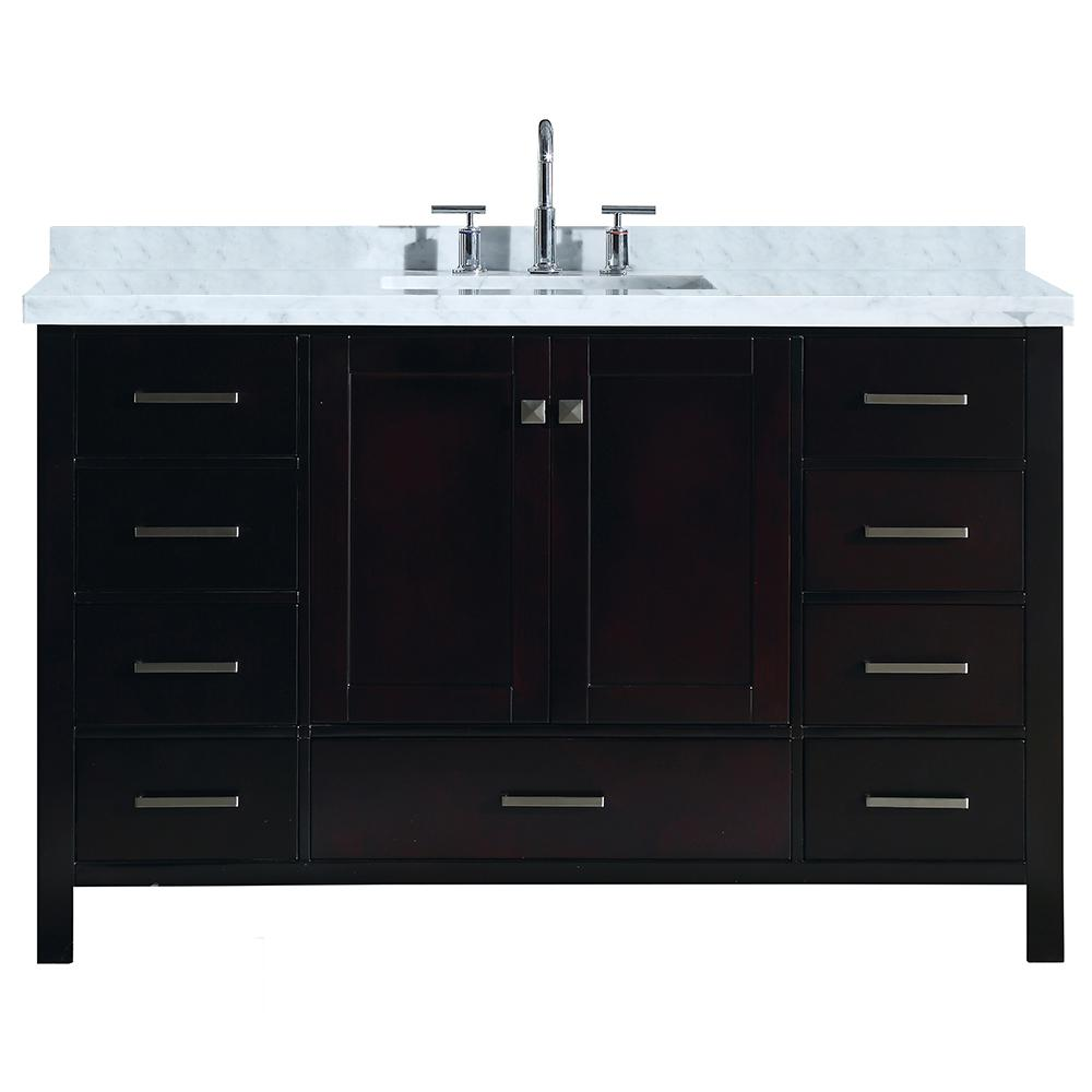 Ariel Cambridge 55 in. Bath Vanity in Espresso with Marble Vanity Top in Carrara White with White Basin