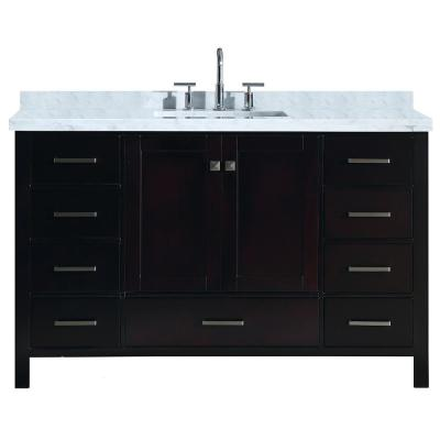 Cambridge 55 in. Bath Vanity in Espresso with Marble Vanity Top in Carrara White with White Basin