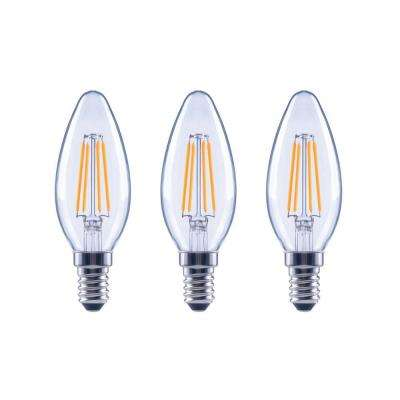 60-Watt Equivalent B11 Dimmable ENERGY STAR Clear Glass Filament Vintage Edison LED Light Bulb Soft White (3-Pack)