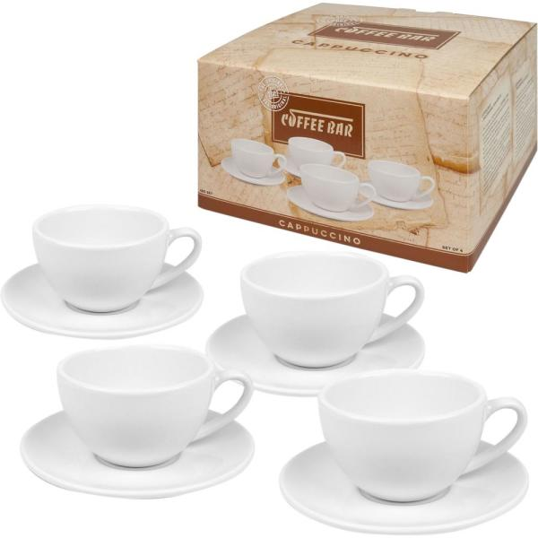 e83d27660f undefined Konitz 8-Piece White Coffee Bar #4 Porcelain Cappuccino Cup and Saucer  Sets
