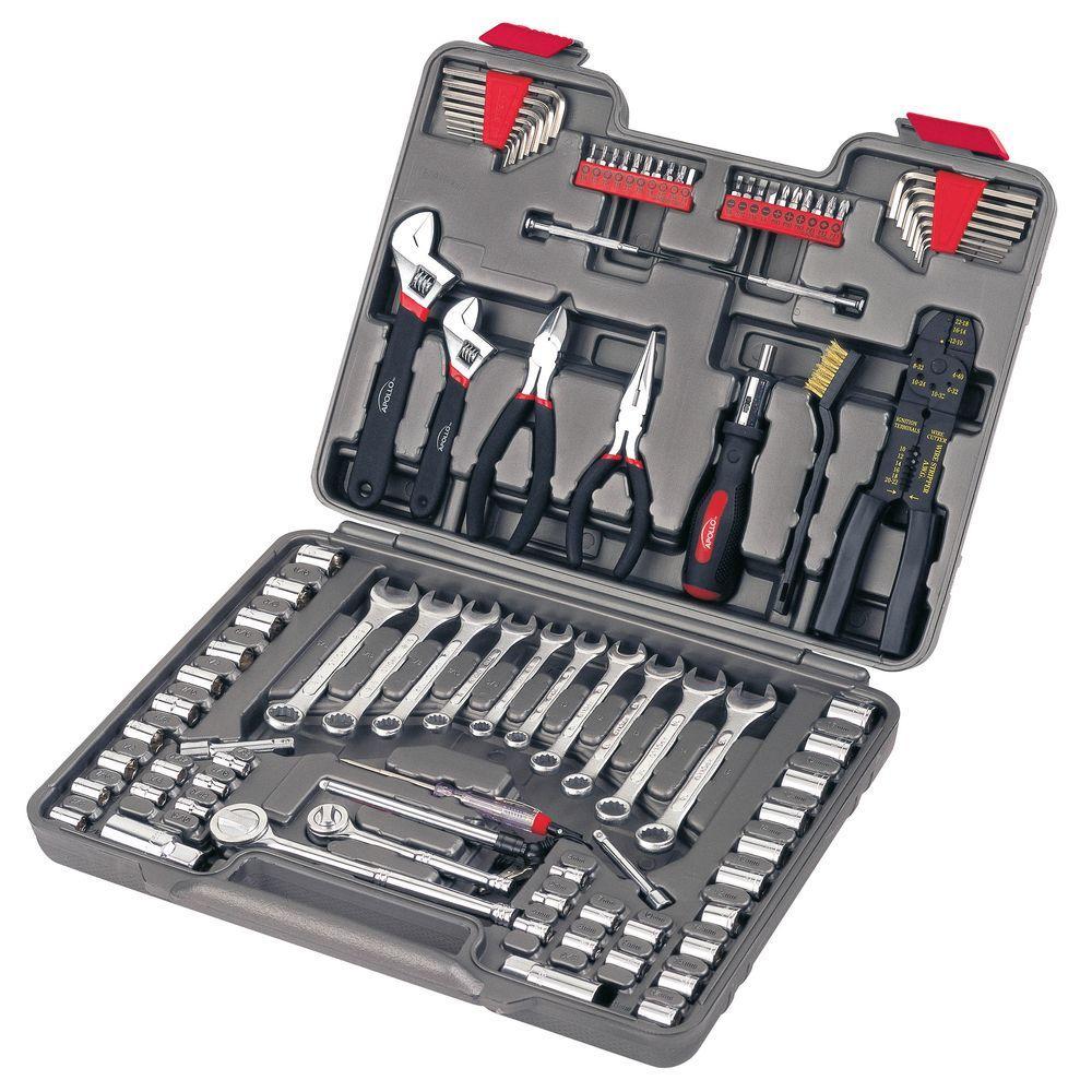 apollo 95 piece mechanics tool kit dt1241 the home depot. Black Bedroom Furniture Sets. Home Design Ideas
