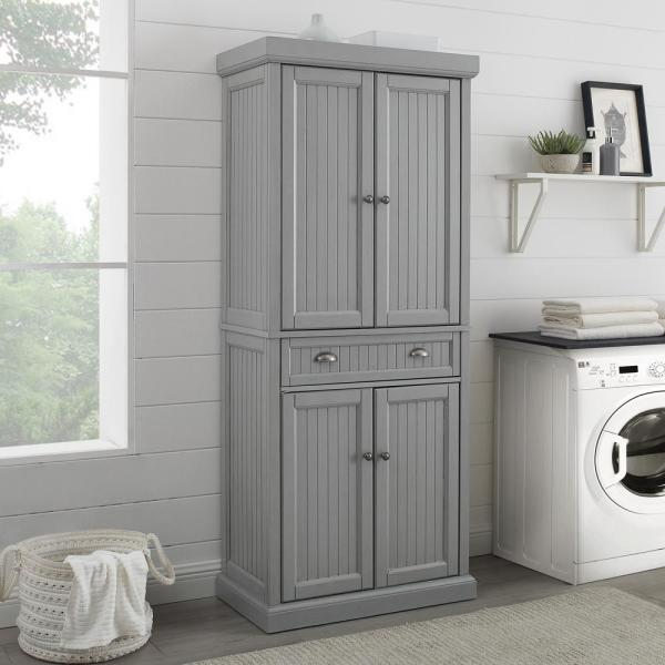 Crosley Furniture Seaside Gray Pantry Cf3103 Gy The Home Depot