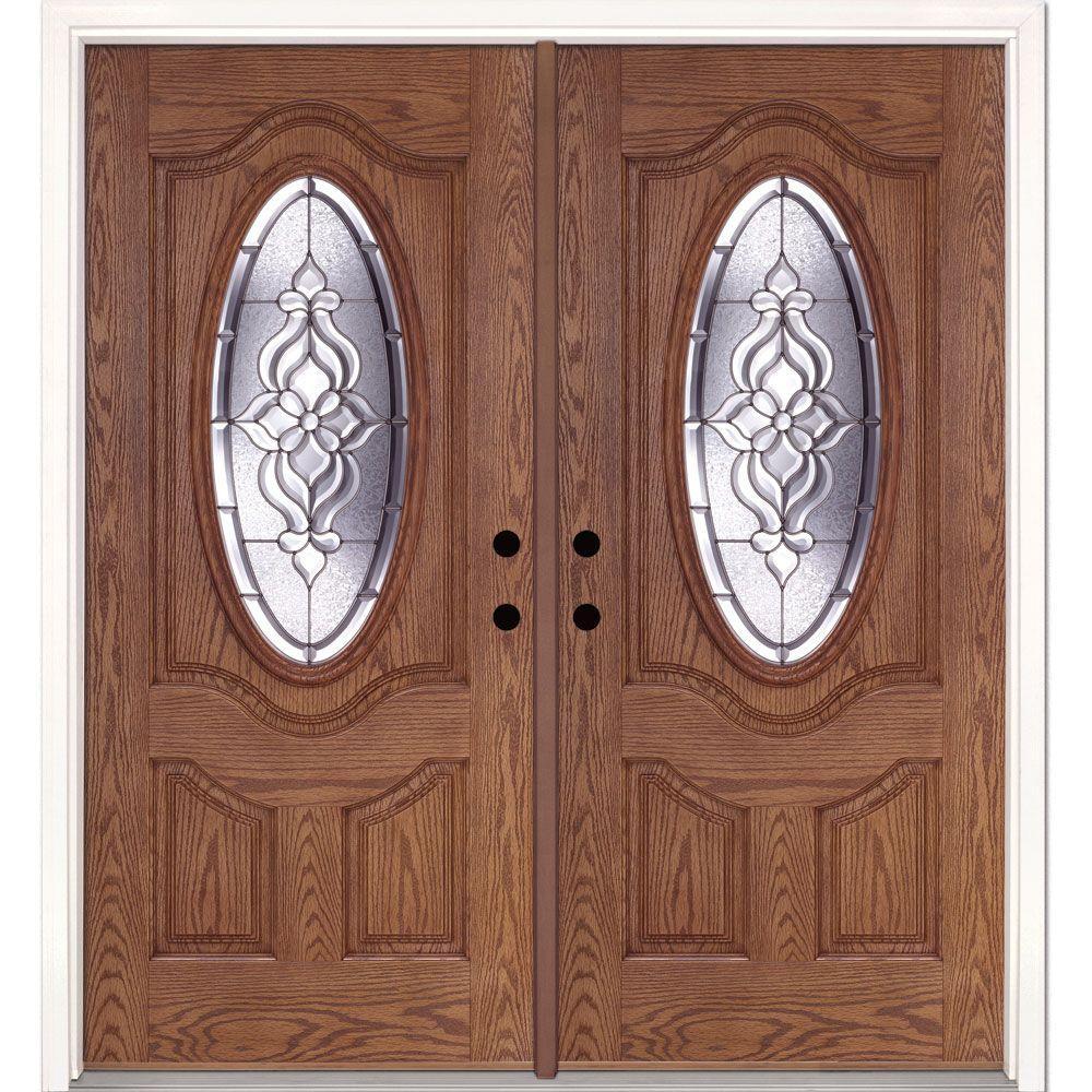Feather River Doors 74 in. x 81.625 in. Lakewood Zinc 3/4 Oval Lite Stained Medium Oak Right-Hand Fiberglass Double Prehung Front Door