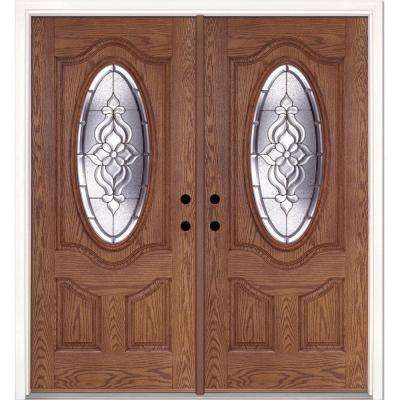74 in. x 81.625 in. Lakewood Zinc 3/4 Oval Lite Stained Medium Oak Right-Hand Fiberglass Double Prehung Front Door