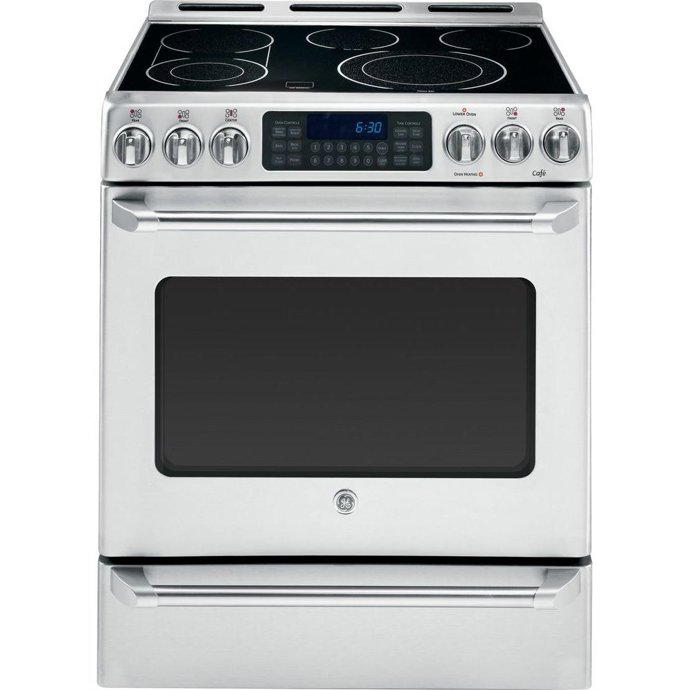 GE Cafe 5.4 cu. ft. Electric Range with Self-Cleaning Convection Oven in Stainless Steel