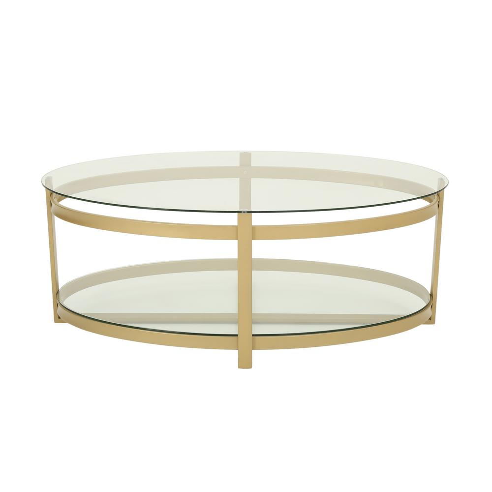 Plumeria Modern Oval Clear Tempered Glass 2 Tier Coffee Table With Brass  Iron Frame