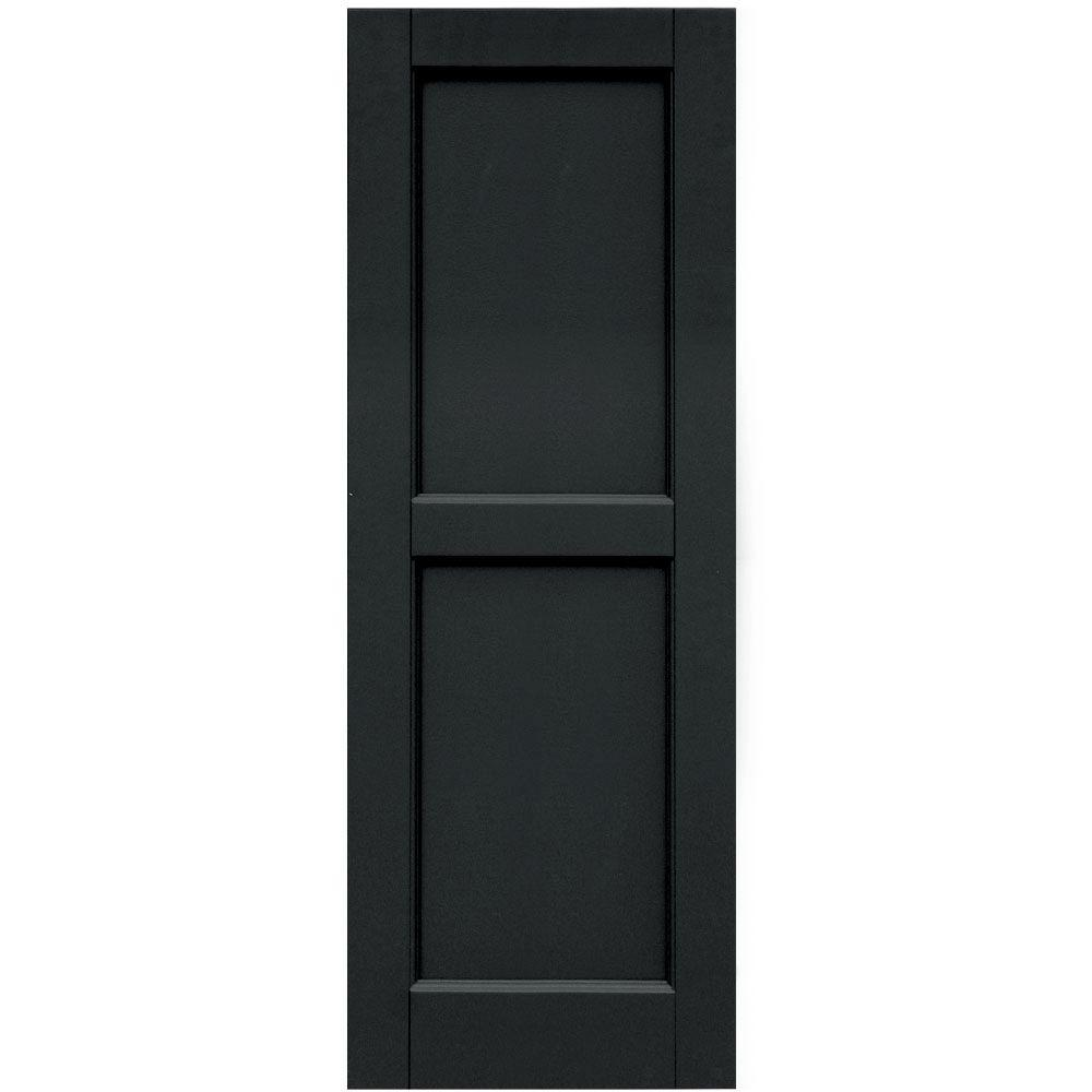 Winworks Wood Composite 15 in. x 42 in. Contemporary Flat Panel Shutters Pair #632 Black