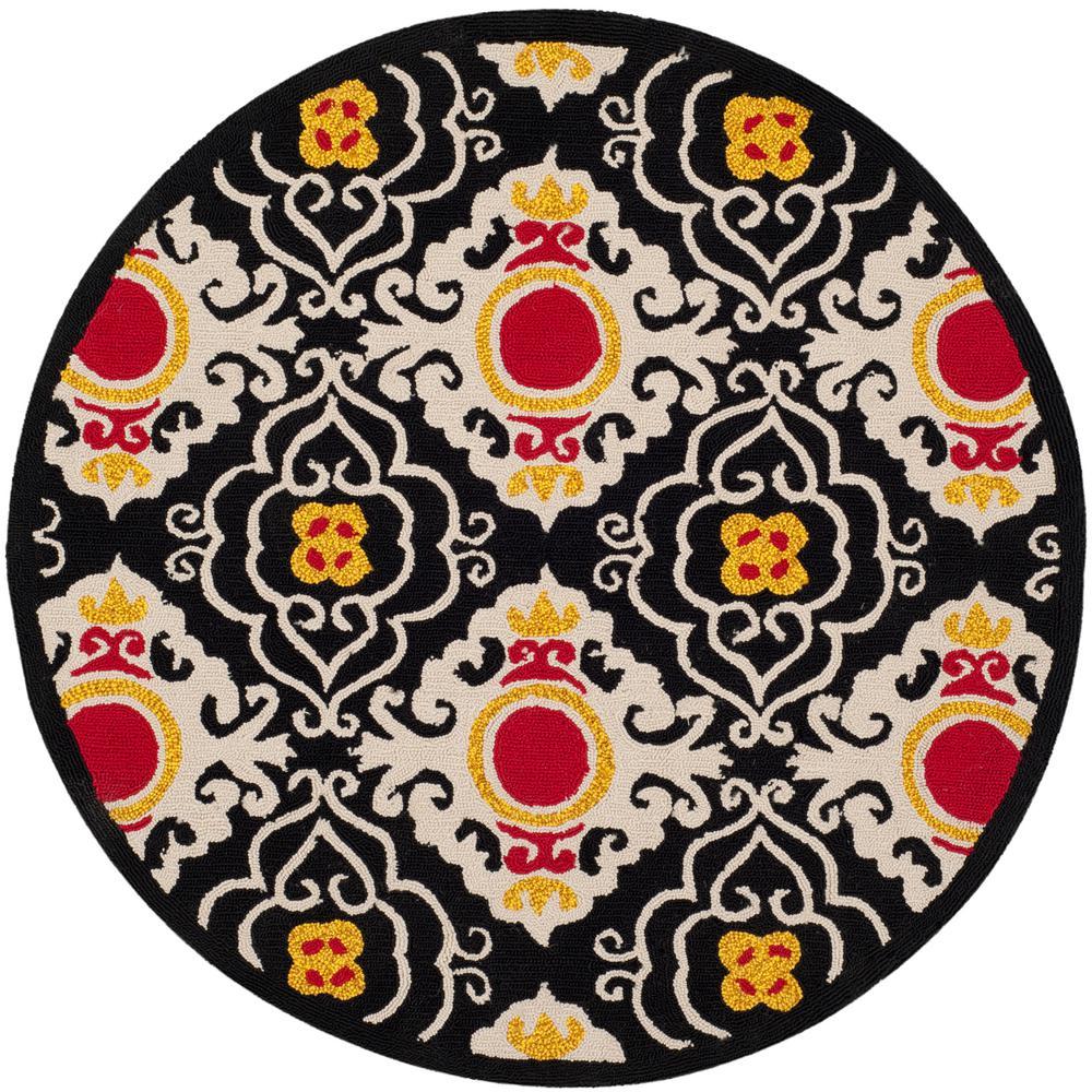 Safavieh Four Seasons Black/Ivory 6 ft. x 6 ft. Round Area Rug