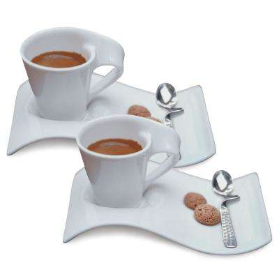 New Wave Caffe White 2.5 oz. Espresso for 2 (6-Piece Set)