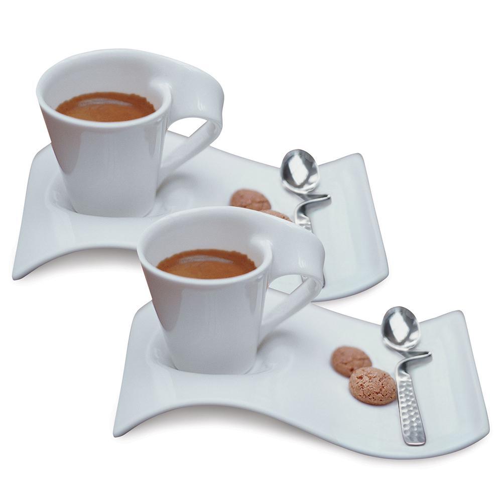 New Wave Caffe White 2.5 oz. Espresso for 2 (6-Piece Set)