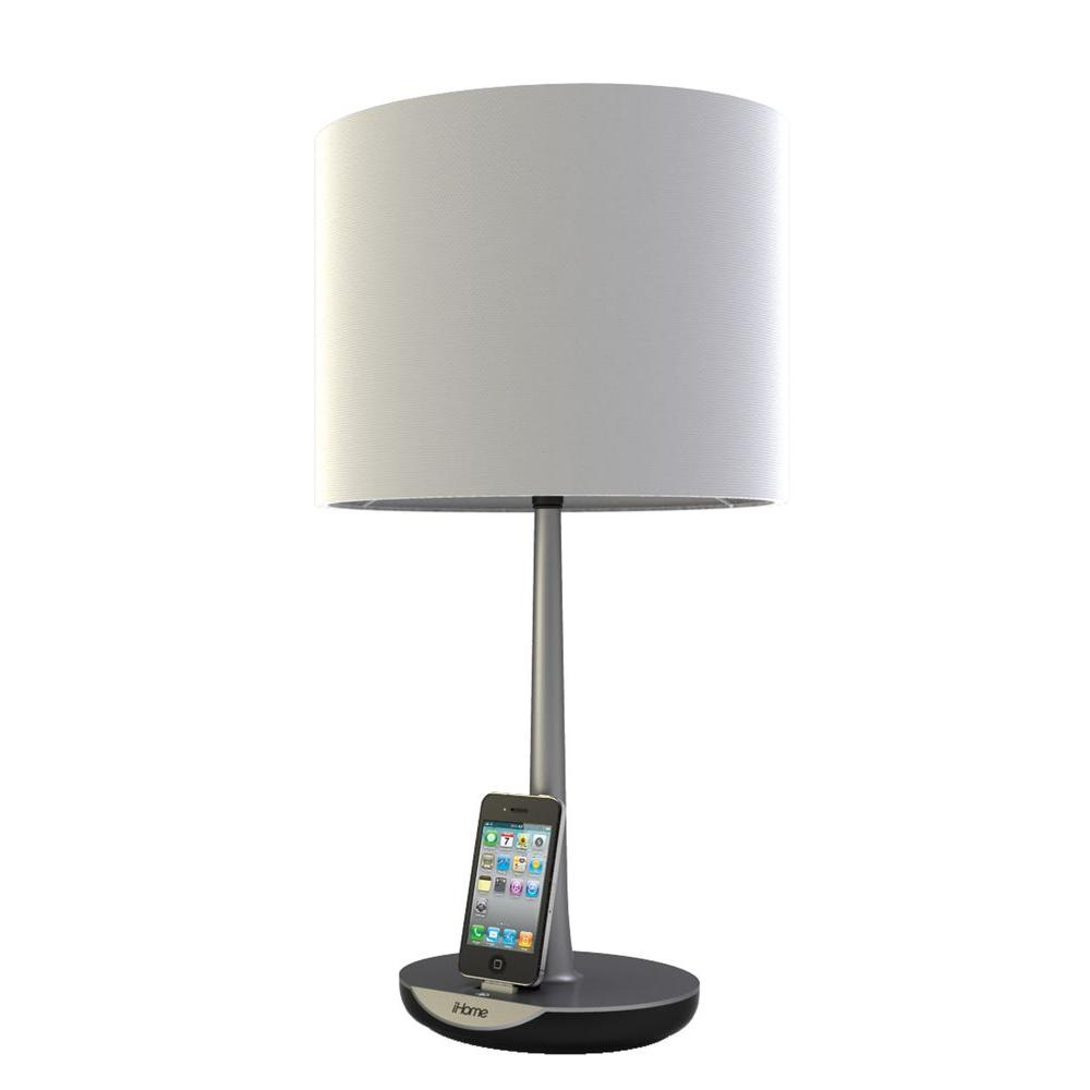 IHome 1 Light Charging Lamp   Silver