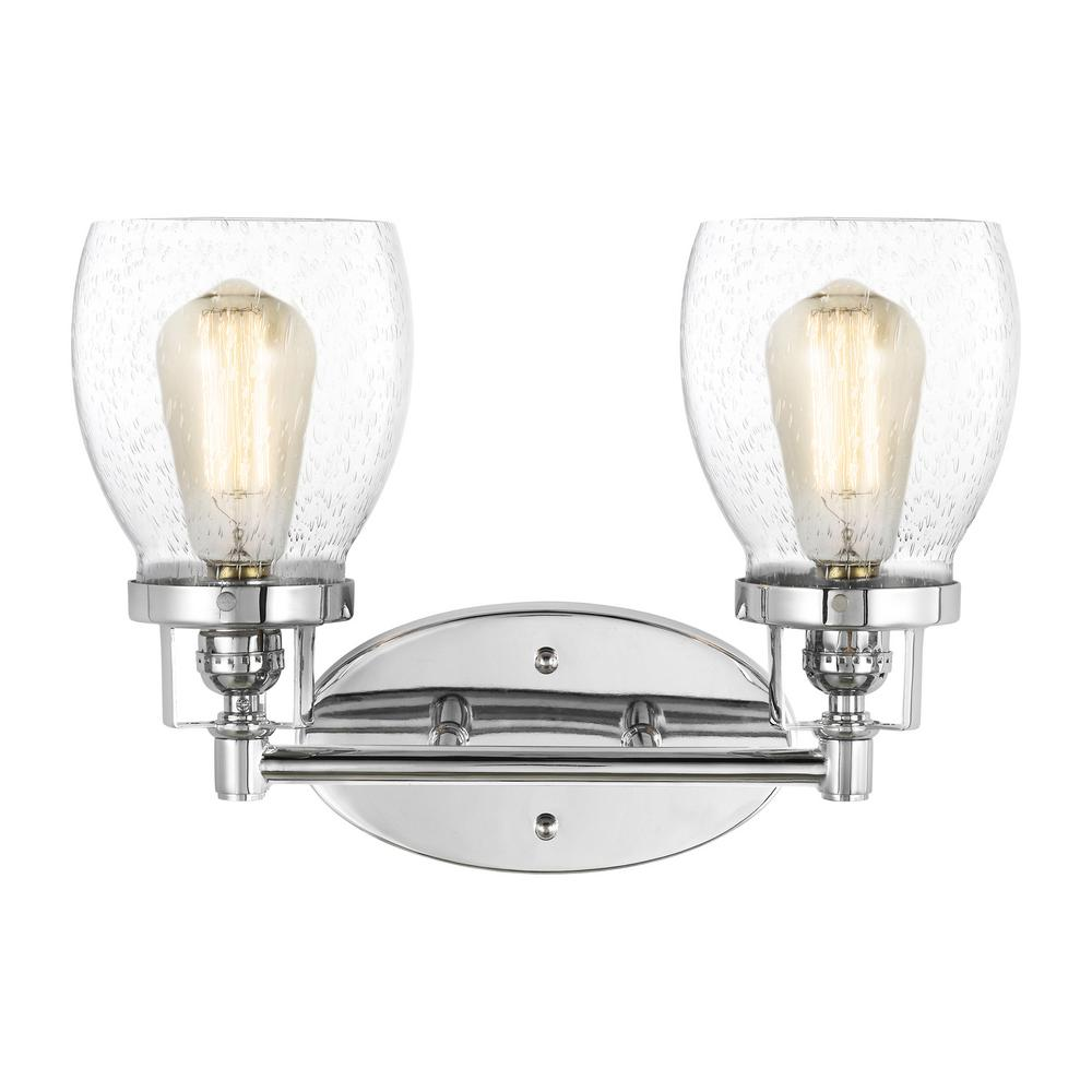 Sea Gull Lighting Belton 15 in. 2-Light Chrome Vanity Light with Clear Seeded Glass Shades was $125.9 now $75.54 (40.0% off)