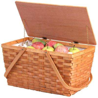 Large Woodchip Picnic Basket with White Lining and Wooden Lid