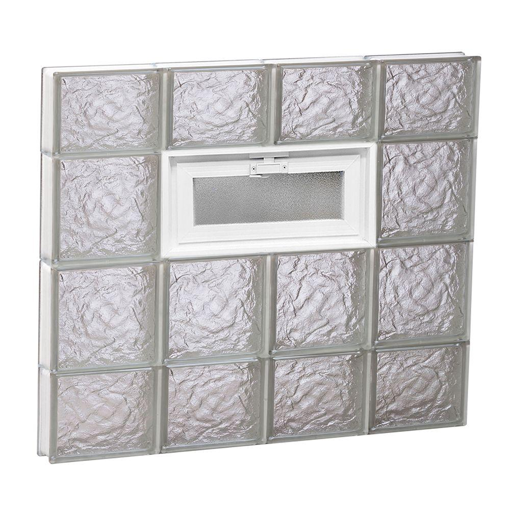 Clearly secure 31 in x 27 in x in ice pattern for Pre assembled glass block windows