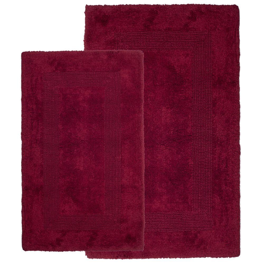 Lavish Home Burgundy 1 ft. 10 in. x 2 ft. 11 in. Cotton 2-Piece ...