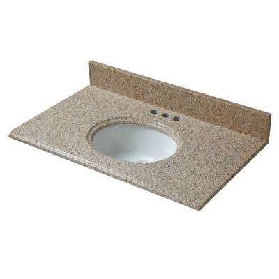 31 in. W x 19 in. D Granite Vanity Top in Beige with White Basin