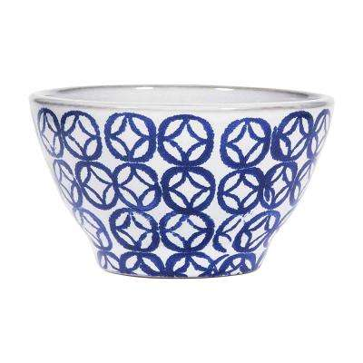 5.5 in. White/Blue Square Diamond Bowl