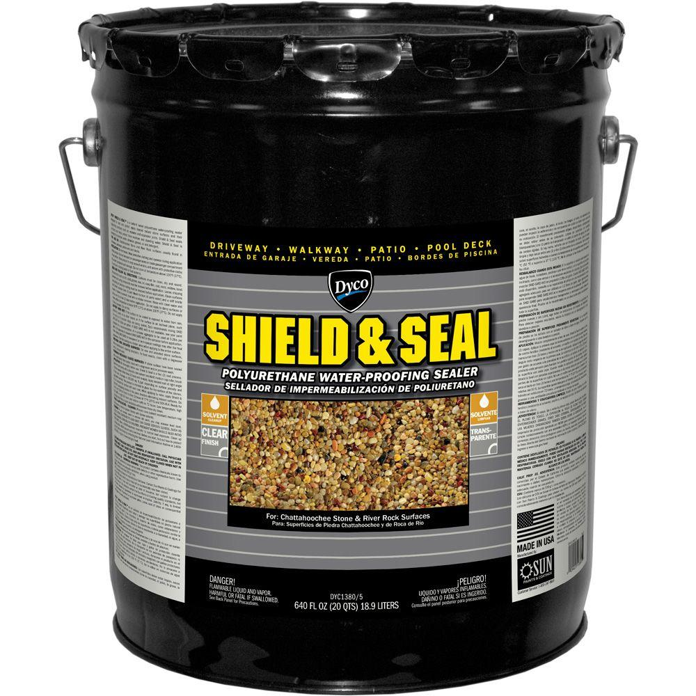 Dyco Paints Shield Seal 5 Gal 1380 Clear Polyurethane Waterproofing Sealer Dyc1380 5 The Home Depot