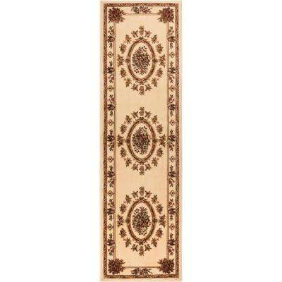 Timeless Le Petit Palais Ivory 3 ft. x 12 ft. Traditional Runner Rug