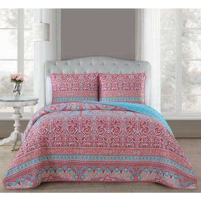Cass 3-Piece Coral King Quilt Set