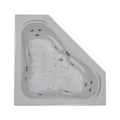 60 in. Corner Drop-in Air and Whirlpool Bath Bathtub in Biscuit 60CT Biscuit