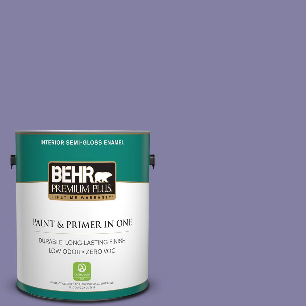 1-gal. #640D-6 Chinese Violet Zero VOC Semi-Gloss Enamel Interior Paint