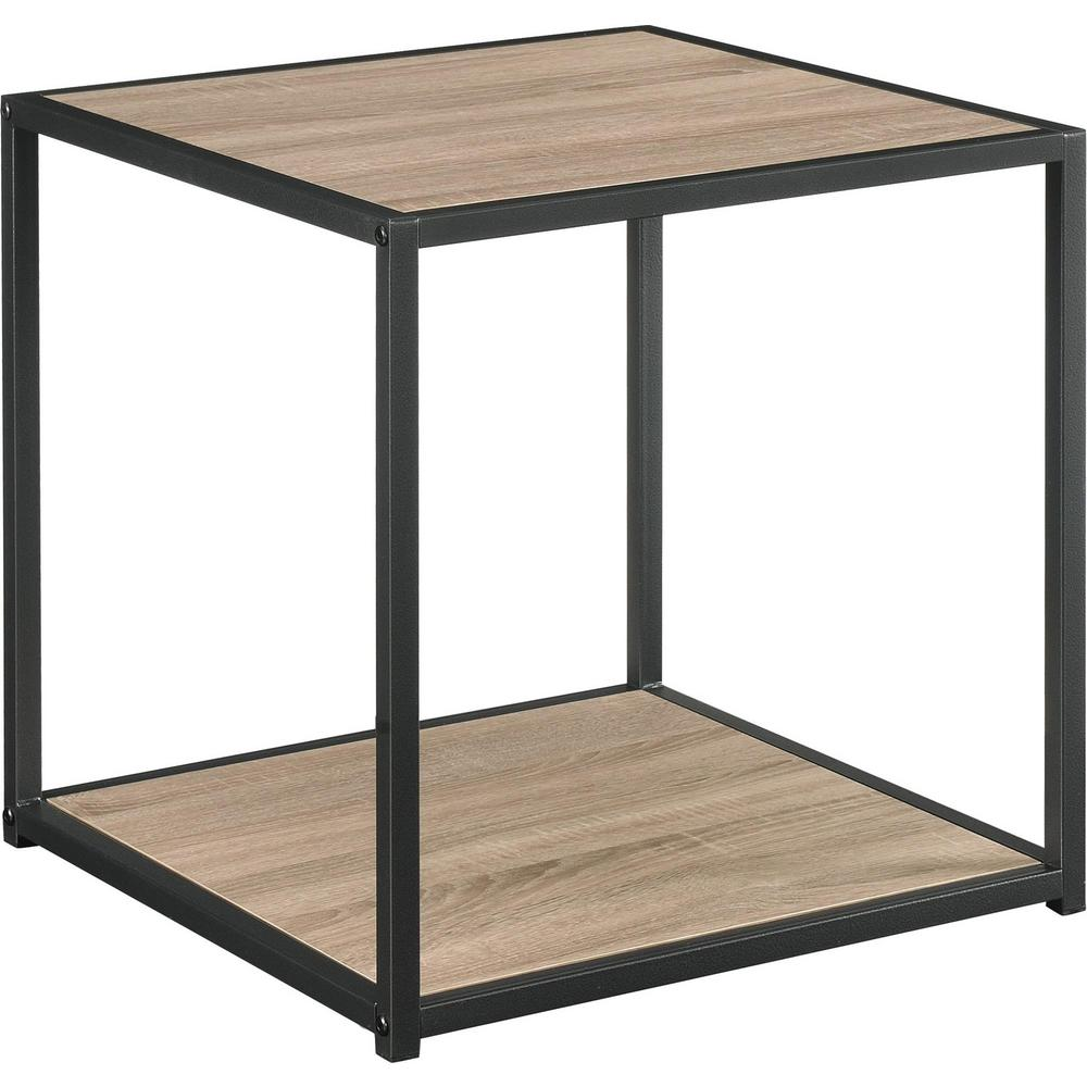 Ameriwood Sun Valley Distressed Gray Oak Accent Table With Metal Frame