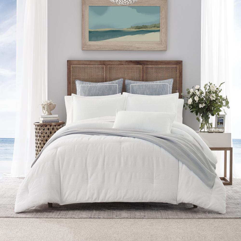 Hampton White 3-Piece Cotton Blend King Comforter Set