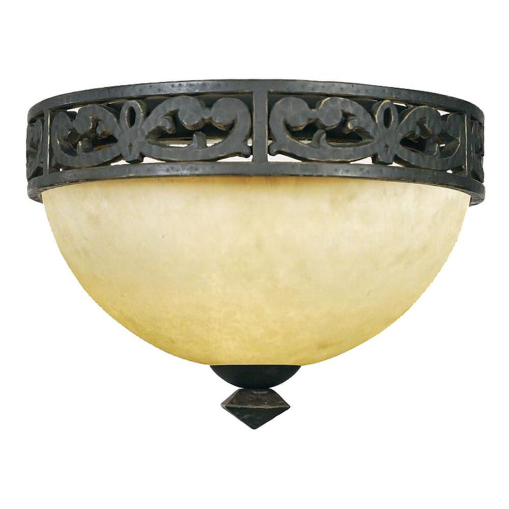 Filament Design Monroe 2-Light Imperial Bronze Incandescent Ceiling Flush Mount