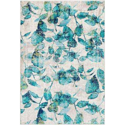 Sora Teal 7 ft. 9 in. x 11 ft. 2 in. Floral Area Rug