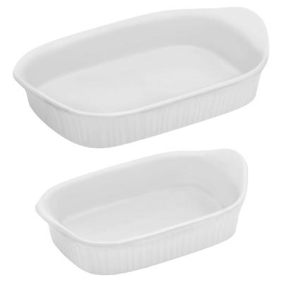 French White 2-Piece Ceramic Bakeware Set