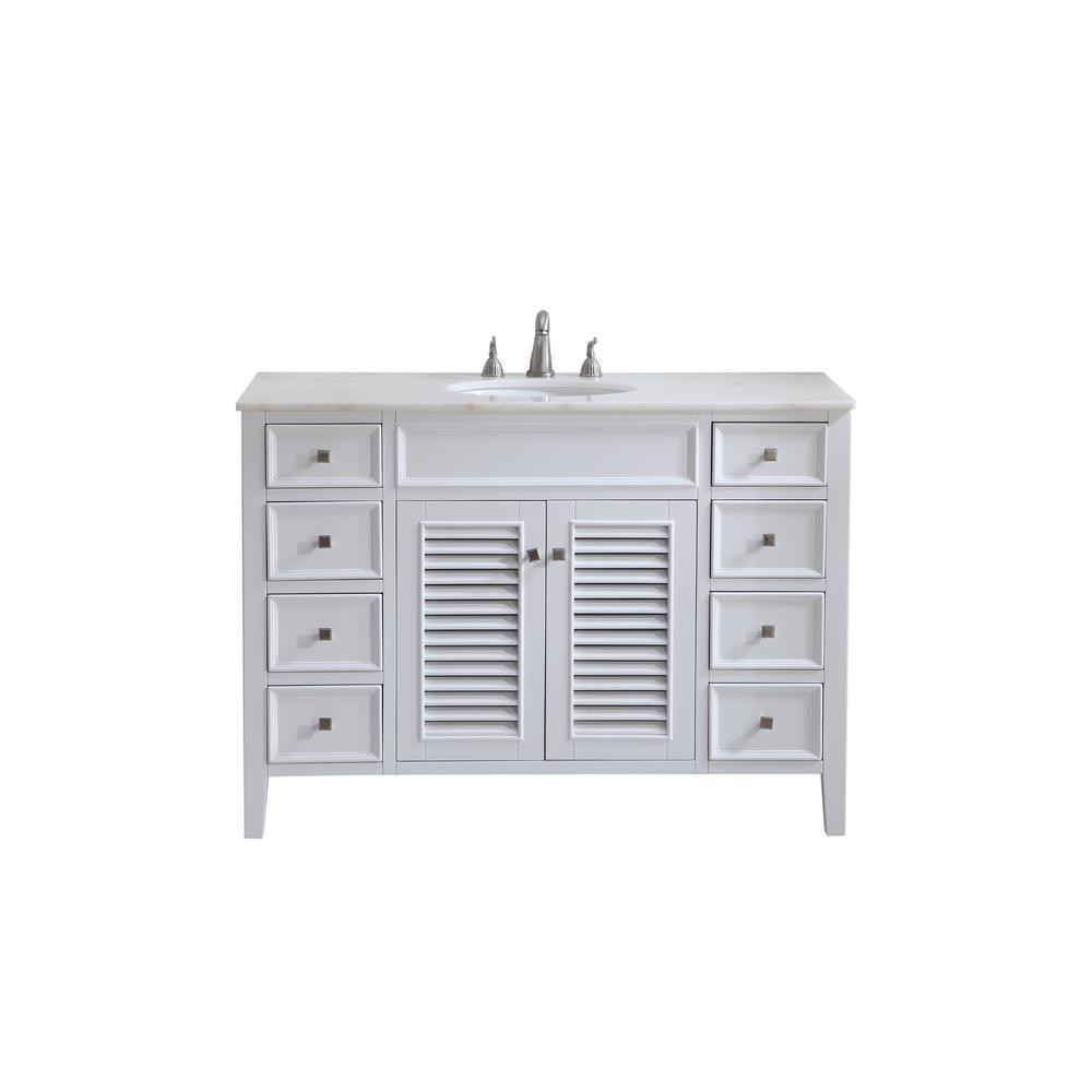 Bellaire 48 in. Single Bath Vanity w/ 8 Drawers 1 Shelf 2 Doors; Marble Top; Porcelain Sink; White