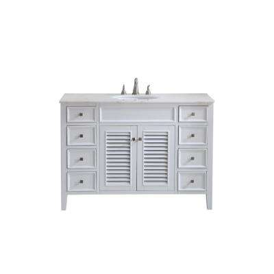Bellaire 48 in. Single Bath Vanity w/ 8 Drawers 1 Shelf 2 Doors; Marble Top; Porcelain Sink; White