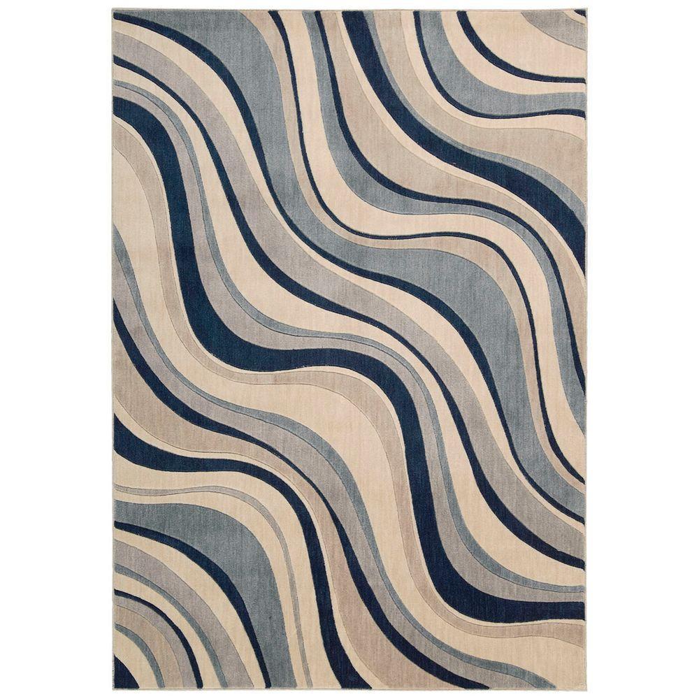 Somerset Ivory/Blue 5 ft. x 7 ft. Area Rug