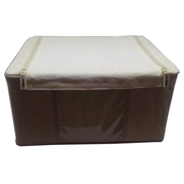 Soft 14.17 in. D x 10.24 in. W x 7 in. H Beige Polyester Canvas Organizer Bin with Viewing Window Closet System