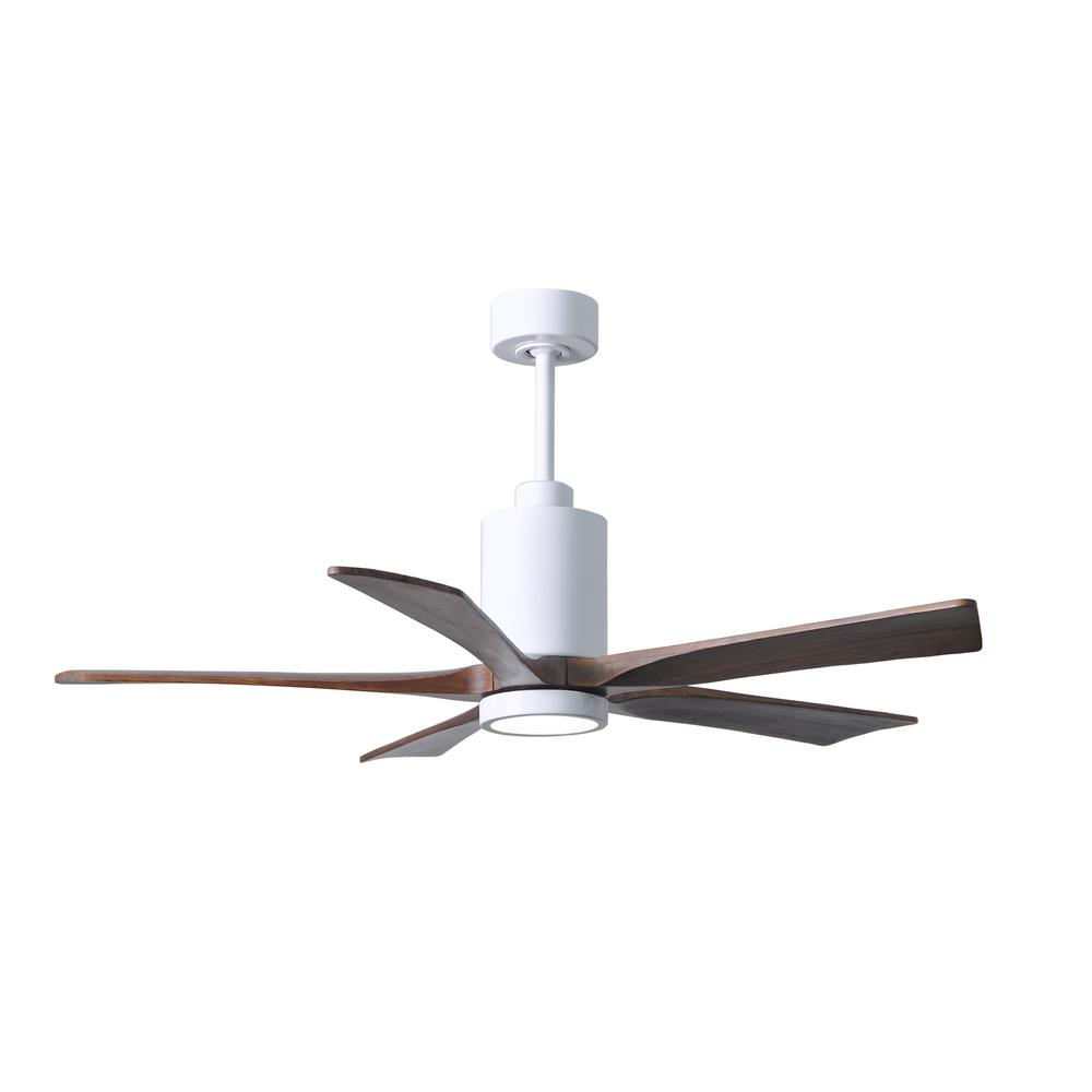 Atlas Patricia 52 in. LED Indoor/Outdoor Damp Gloss White Ceiling Fan with Remote Control and Wall Control