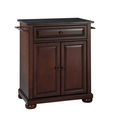 Alexandria Mahogany Portable Kitchen Island with Granite Top
